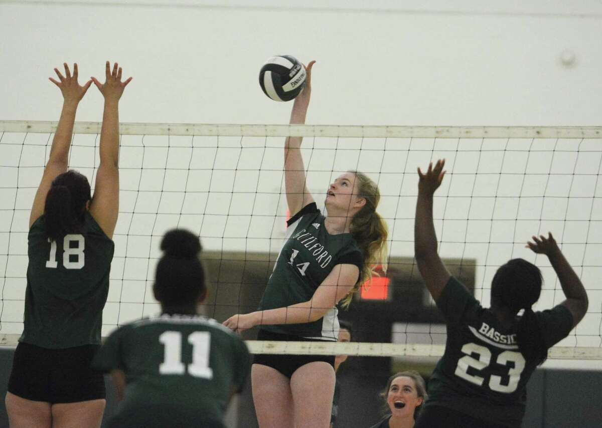 Hunter Halbower is one of Guilford's big hitters and also a key middle blocker for the girls volleyball team.