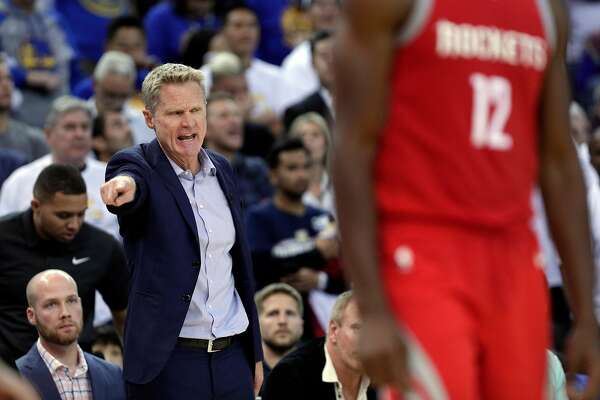Warriors head coach Steve Kerr calls out a to a player in the second half as the Golden State Warriors played the Houston Rockets at Oracle Arena in Oakland, Calif., Tuesday, October 17, 2017.