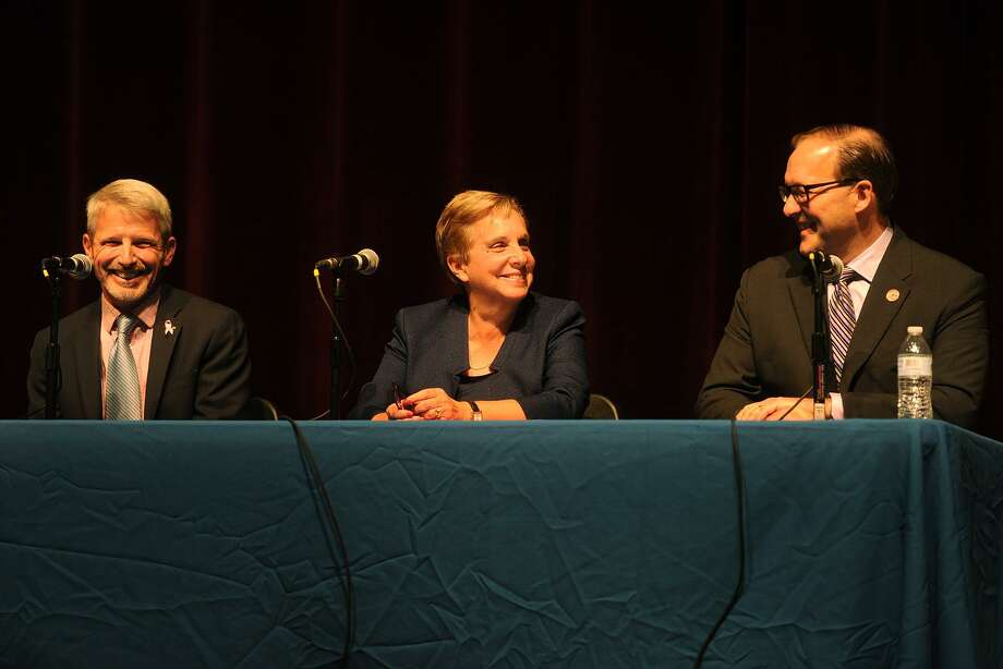 From left; First Selectman candidates Independent Michael Redgate, Democrat Vicki Tesoro, and Republican Paul Lavoie participate in a debate at Trumbull High School in Trumbull, Conn. on Tuesday, October17, 2017. Photo: Brian A. Pounds / Hearst Connecticut Media / Connecticut Post