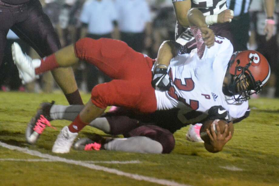 Plainview fullback Sergio Marquez, 33, stretches for extra yardage in a game against Hereford earlier this season. For the third consecutive week, Plainview will be playing an undefeated team in district on the road when they travel to Amarillo to take on the Sandies Thursday night. Photo: Skip Leon/Plainview Herald