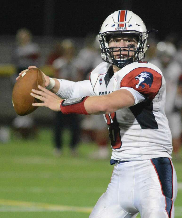 JARED HUBLER, FORAN: The senior has done it all for the  3-2 Lions, throwing for 694 yards and five touchdowns in the air, and  running for 730 yards and 11 touchdowns on the ground. Photo: Dave Phillips / For Hearst Connecticut Media