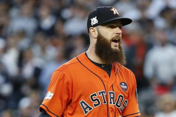 Houston Astros starting pitcher Dallas Keuchel reacts after striking out New York Yankees third baseman Todd Frazier to end the second inning of Game 5 of the ALCS at Yankee Stadium on Wednesday, Oct. 18, 2017, in New York. ( Karen Warren  / Houston Chronicle )
