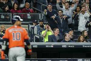 New York Yankees fans heckle Houston Astros first baseman Yuli Gurriel (10) after he struck out during the fourth inning of Game 5 of the ALCS at Yankee Stadium on Wednesday, Oct. 18, 2017, in New York. ( Michael Ciaglo / Houston Chronicle )
