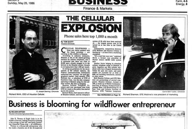 Houston Chronicle inside page - May 25, 1986 - section 5, page 1. THE CELLULAR EXPLOSION Phone sales here top 1,000 a month