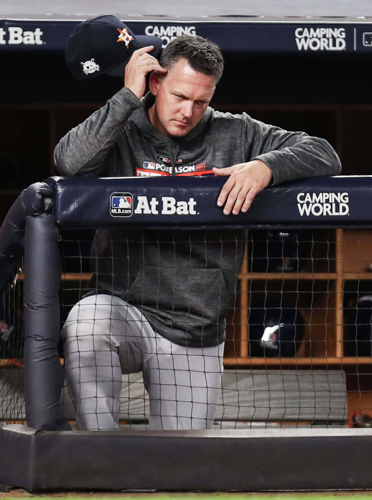 Houston Astros manager A.J. Hinch stands in the dugout during the sixth inning of Game 5 of the ALCS at Yankee Stadium on Wednesday, Oct. 18, 2017, in New York. ( Michael Ciaglo / Houston Chronicle )