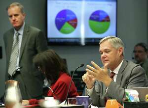 City Council Member Clayton Perry, right, points out why he won't support the San Antonio Water System's proposed rate increases during the City Council B session meeting on Oct. 18, 2017. Doug Evanson, SAWS vice president and chief financial officer, is at left.