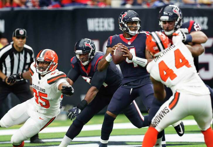"With Deshaun Watson at the helm, his mobility keeps the Texans' offensive line on its toes, or as center Nick Martin puts it, ""block to the echo of the whistle."""