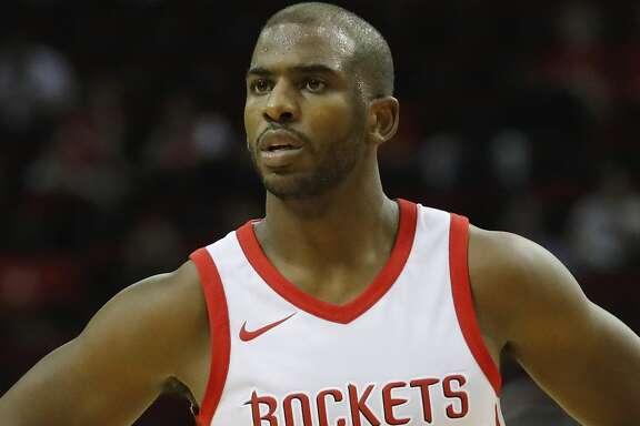 HOUSTON, TX - OCTOBER 05:  Chris Paul #3 of Houston Rockets reacts to a foul in the first half against the Shanghai Sharks at Toyota Center on October 5, 2017 in Houston, Texas.  NOTE TO USER: User expressly acknowledges and agrees that, by downloading and or using this Photograph, user is consenting to the terms and conditions of the Getty Images License Agreement.  (Photo by Tim Warner/Getty Images)