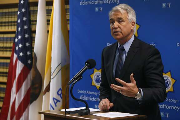 District Attorney George Gascon announces he is filing felony charges against two Alameda County Sheriff's deputies at a news conference in San Francisco, Calif. on Tuesday, May 10, 2016. Sheriff's deputies Luis Santamaria and Paul Wieber are accused of beating Stanislav Petrov leaving him seriously injured in a San Francisco alley in November 2015.