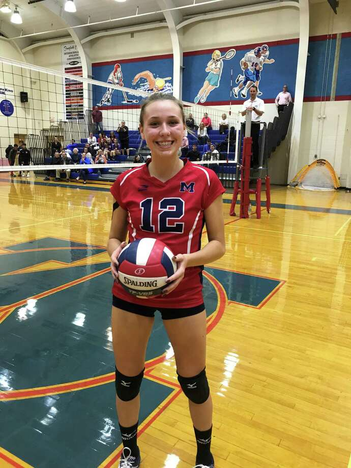 Brien McMahon's Taylor Morton recorded her 1,000th career kill on Wednesday, Oct., 18, 2017. She is the second McMahon player to ever achieve the feat. Photo: Contributed Photo / Contributed Photo / Greenwich Time Contributed