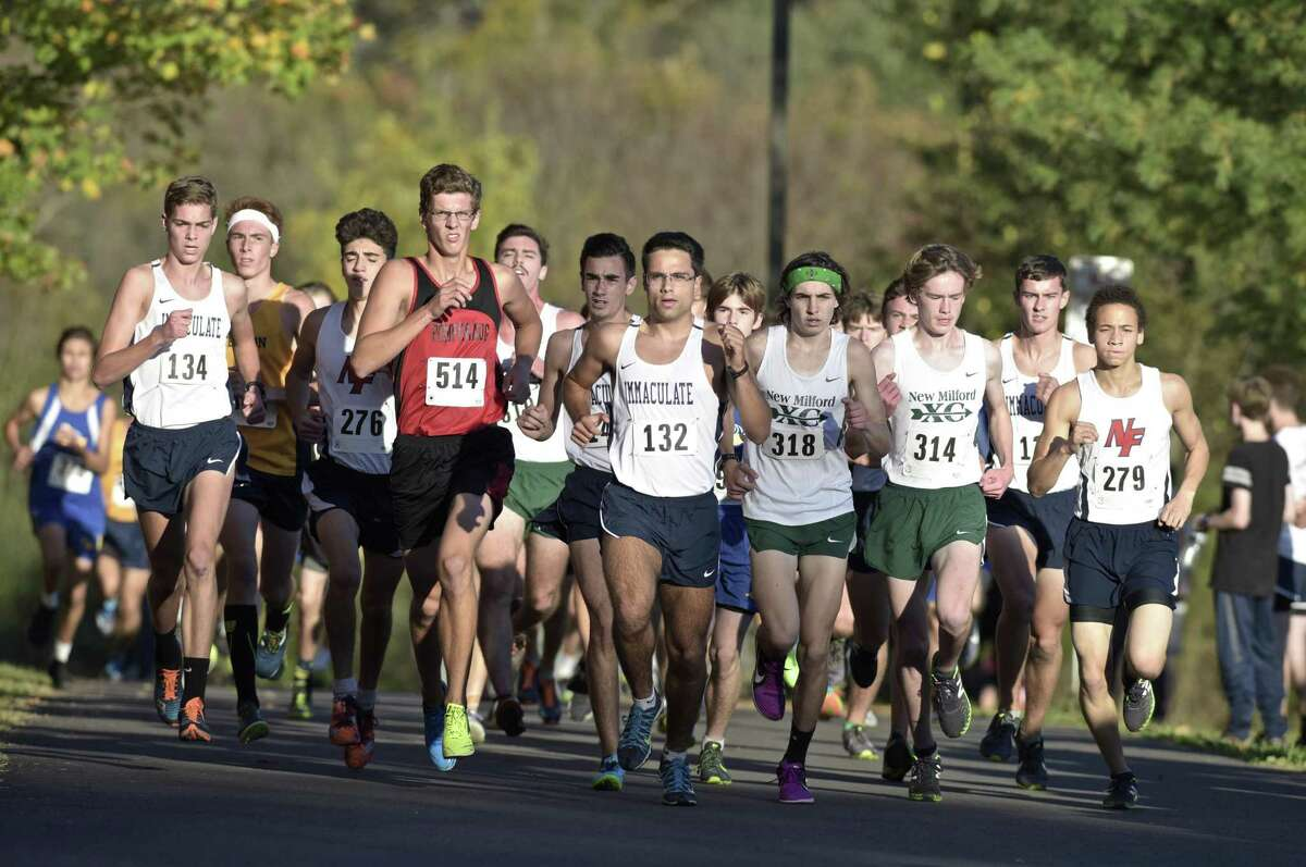The lead pack makes its way around the course in the SWC boys cross country championships Wednesday at Bethel High School, Newtown won the team title.