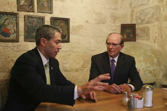 Bexar County Judge Nelson Wolff, right, and San Antonio Mayor Ron Nirenberg meet for their weekly meeting at El Mirador, Monday, Oct. 16, 2017.