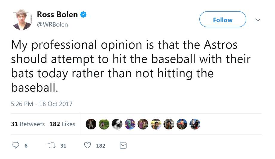See Twitter's best reactions to the Astros' 5-0 loss against the Yankees.WRBolen Photo: WRBolen