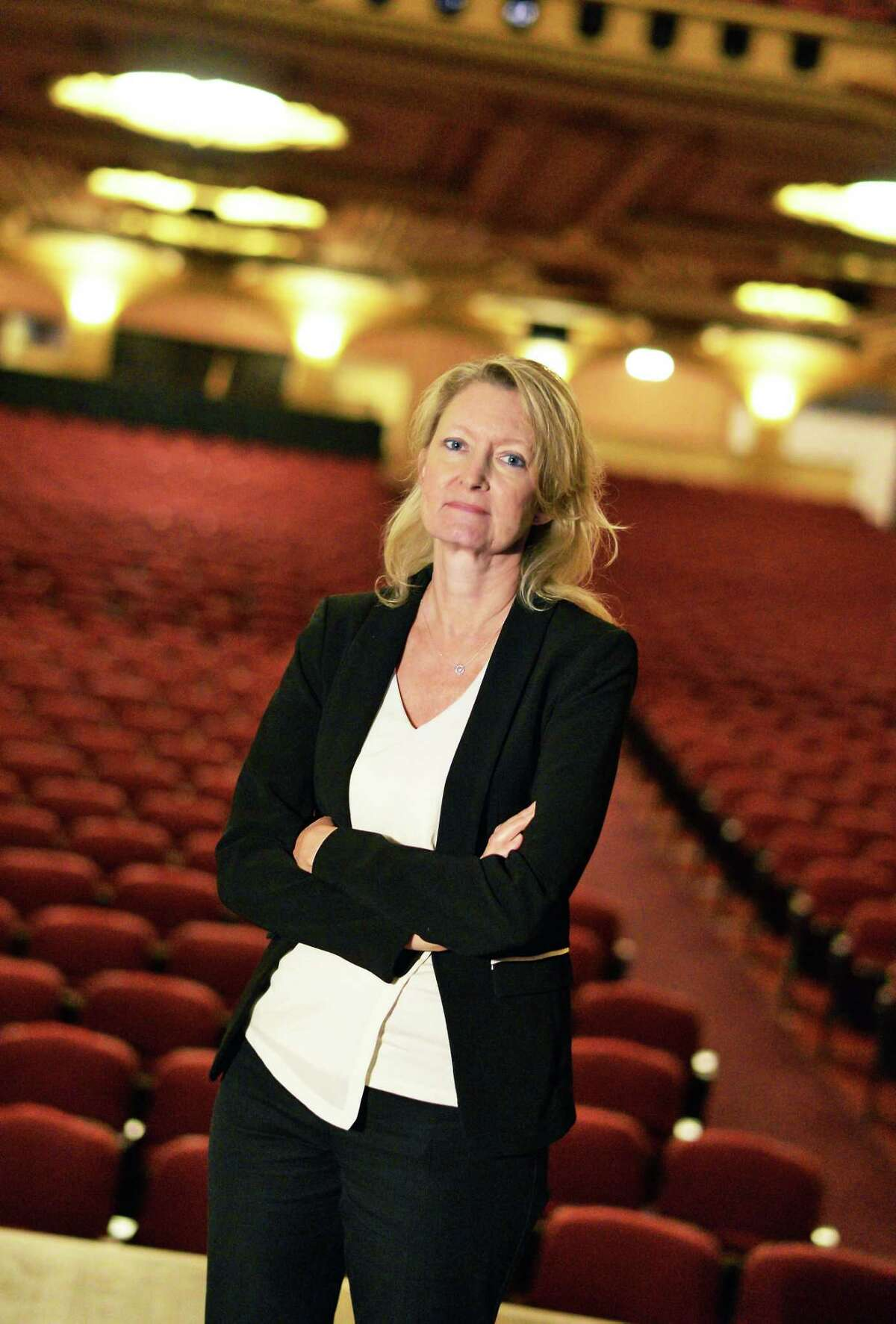 Holly Brown, executive director of the Palace Theatre, stands on stage Wednesday, May 25, 2016, at the Palace Theatre in Albany, N.Y. (John Carl D'Annibale / Times Union)