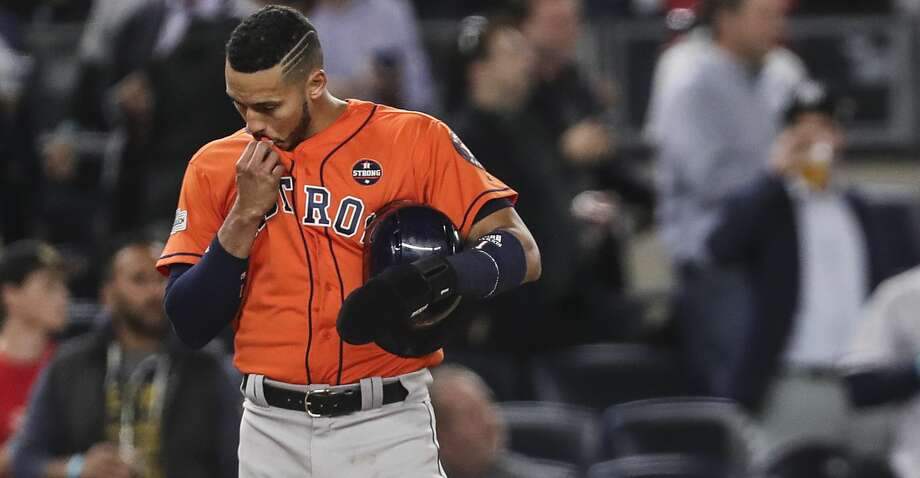 Houston Astros shortstop Carlos Correa stands on third after Yuri Gurriel grounded out during the ninth inning of Game 5 of the ALCS against the New York Yankees at Yankee Stadium on Wednesday, Oct. 18, 2017, in New York. ( Michael Ciaglo / Houston Chronicle ) Photo: Michael Ciaglo/Houston Chronicle