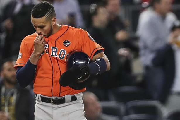 Houston Astros shortstop Carlos Correa stands on third after Yuri Gurriel grounded out during the ninth inning of Game 5 of the ALCS against the New York Yankees at Yankee Stadium on Wednesday, Oct. 18, 2017, in New York. ( Michael Ciaglo / Houston Chronicle )