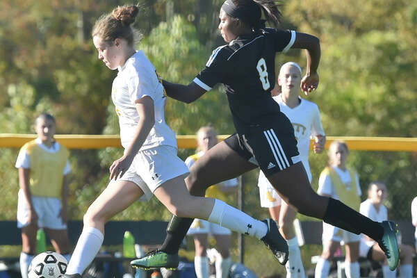 Orange, Connecticut - Wednesday, October 18, 2017: Second Half,  Amity High School girls soccer vs. Jonathan Law High School of Milford at Amity H.S. in Woodbridge Wednesday afternoon. Final Score: Amity H.S. defeats Jonathan Law H.S. 1-0.
