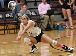 Burnt Hills' Grace Isaksen hits the ball during a volleyball match against Shenendehowa on Wednesday, Oct 18, 2017 in Burnt Hills, N.Y. (Lori Van Buren / Times Union)