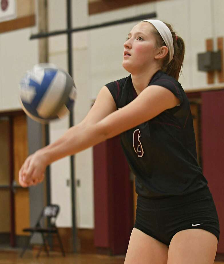 Burnt Hills' Hannah Shell hits the ball during a volleyball match against Shenendehowa on Wednesday, Oct 18, 2017 in Burnt Hills, N.Y. (Lori Van Buren / Times Union) Photo: Lori Van Buren / 20041868A