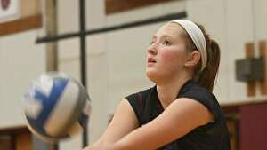 Burnt Hills' Hannah Shell hits the ball during a volleyball match against Shenendehowa on Wednesday, Oct 18, 2017 in Burnt Hills, N.Y. (Lori Van Buren / Times Union)
