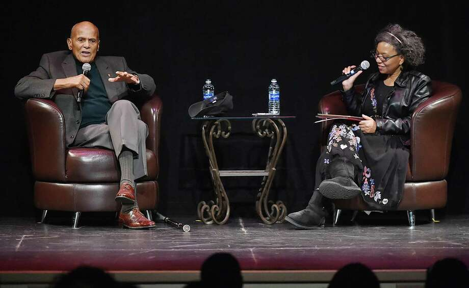 Harry Belafonte, left, speaks with Yale professor  Daphne Brooks  at the Shubert Theatre Wednesday in New Haven. Photo: Catherine Avalone / Hearst Connecticut Media / New Haven Register