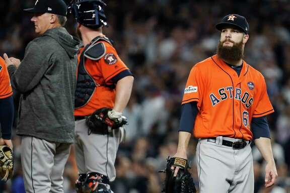 Astros starter Dallas Keuchel departs after an outing that lasted 42⁄3 innings and resulted in the first loss of his postseason career.