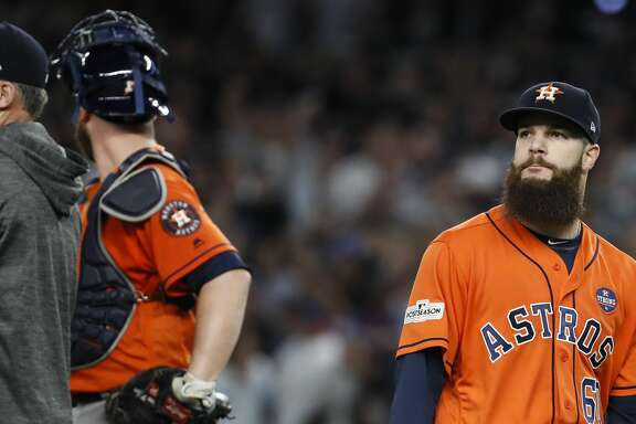 Houston Astros starting pitcher Dallas Keuchel (60) walks off the mound after he was taken from Game 5 of the ALCS against the New York Yankees at Yankee Stadium on Wednesday, Oct. 18, 2017, in New York. ( Karen Warren  / Houston Chronicle )