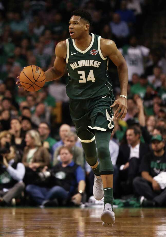 BOSTON, MA - OCTOBER 18: Giannis Antetokounmpo #34 of the Milwaukee Bucks dribbles against the Boston Celtics during the second quarter at TD Garden on October 18, 2017 in Boston, Massachusetts. NOTE TO USER: User expressly acknowledges and agrees that, by downloading and or using this Photograph, user is consenting to the terms and conditions of the Getty Images License Agreement. (Photo by Maddie Meyer/Getty Images) ORG XMIT: 775026655 Photo: Maddie Meyer / 2017 Getty Images