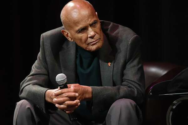 """Harry Belafonte, 90, singer, songwriter, actor, and social activist speaks at """"A Conversation with Harry Belafonte,"""" a fundraiser hosted by the Christian Community Action at Shubert Theatre, Wednesday, October 18, 2017, on College Street in New Haven."""