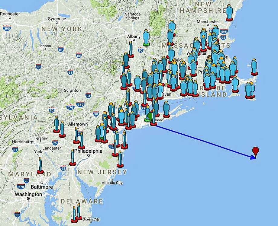 A daytime fireball was seen over Connecticut and parts of the Northeast on Wednesday, Oct. 18, 2017. There were more than 30 sighting reports from Connecticut, according to the American Meteor Society. Photo: American Meteor Society Map