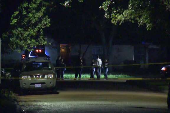 A man was killed late Wednesday after fleeing gunfire and crashing a car into the front of a southwest Houston home. (Metro Video)