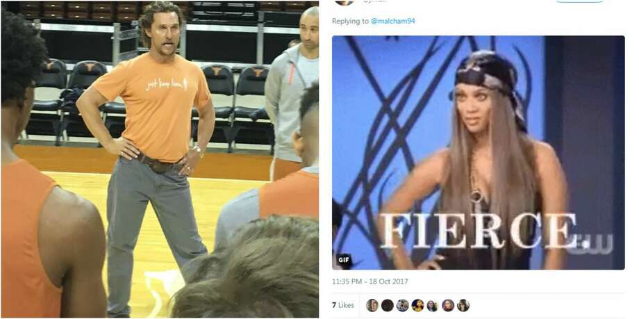 A photo of Matthew McConaughey with his right hip popped at a University of Texas men's basketball practice has become the internet's latest obsession.  Photo: Twitter
