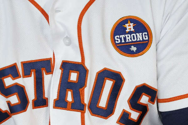 """In their first home baseball game after Hurricane Harvey left more than 75 dead across Texas and destroyed thousands of homes, the Houston Astros debuted a """"Houston Strong"""" uniform patch which they have continued to wear through the remainder of the 2017 season."""