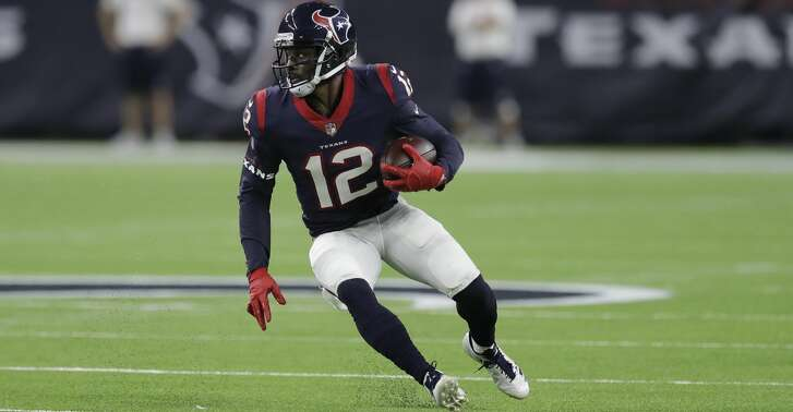 Houston Texans wide receiver Bruce Ellington (12) runs against the Kansas City Chiefs during the first half of an NFL football game Sunday, Oct. 8, 2017, in Houston. (AP Photo/David J. Phillip)