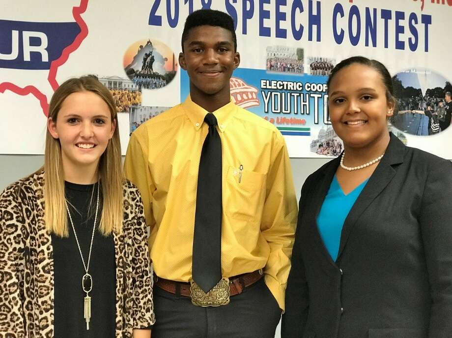 Winners of the 2018 Government-in-Action Youth Tour Trip following Monday's Youth Tour Speech Contest are Sadie Bow (left), Happy High School; Jackson Davis, Happy High School; and alternate Kaleigh Rodarte-Suto, Canyon High School.