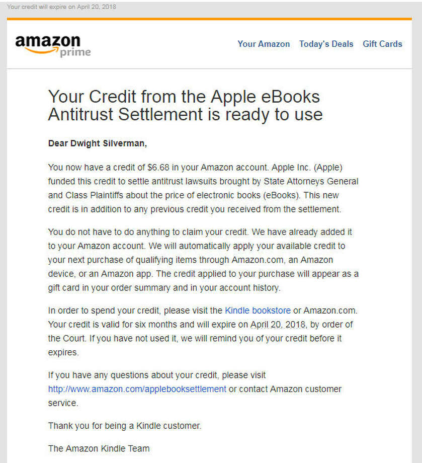 Amazon apple give out more credits from e books lawsuit amazon sent this notification to its customers on oct 18 2018 alerting them fandeluxe Images