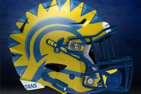 San Jose State concept NCAA football helmet by graphic designer   Dylan Young   of   Deeyung Entertainment  .
