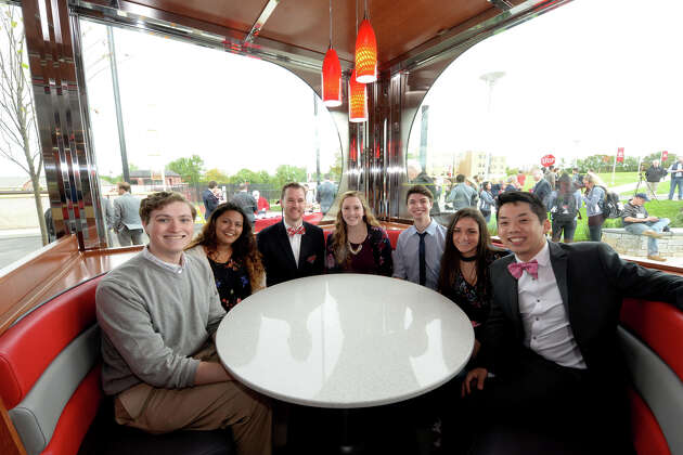 Sacred Heart University celebrates its newest dining facility, JP's Diner, in a ribbon-cutting ceremony on Monday, Oct. 16, 2017.