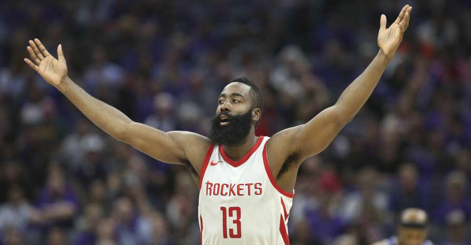 Houston Rockets guard James Harden celebrates after hitting a 3-point shot against the Sacramento Kings during the second half of an NBA basketball game in Sacramento, Calif., Wednesday, Oct. 18, 2017. The Rockets won 105-100.  (AP Photo/Steve Yeater) Photo: Steve Yeater/Associated Press