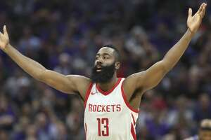 Houston Rockets guard James Harden celebrates after hitting a 3-point shot against the Sacramento Kings during the second half of an NBA basketball game in Sacramento, Calif., Wednesday, Oct. 18, 2017. The Rockets won 105-100.  (AP Photo/Steve Yeater)