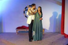 """Jeff Dorman and Renee VanNifterik rehearse a scene from Shakespeare's """"Antony and Cleopatra"""" at the Pearl Theater. Director Jonathan Gonzalez says the play puts the characters on a """"deeply human level."""""""