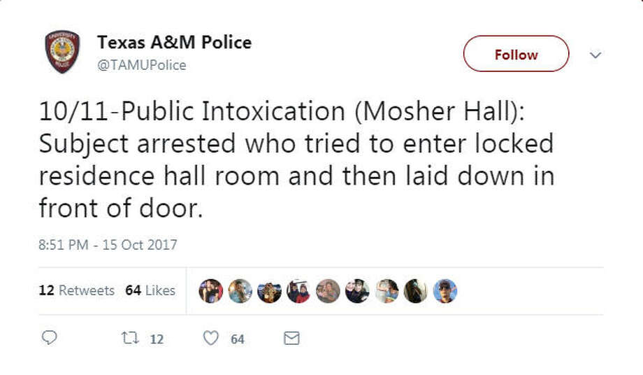 The funniest cases the Texas A&M University police force has had to tackle, as told by their Twitter account. Photo: File/Twitter
