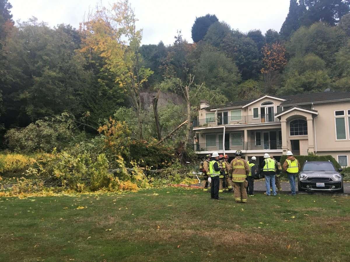 Engineers evaluate a mudslide in Edmonds on Oct. 19, 2017.