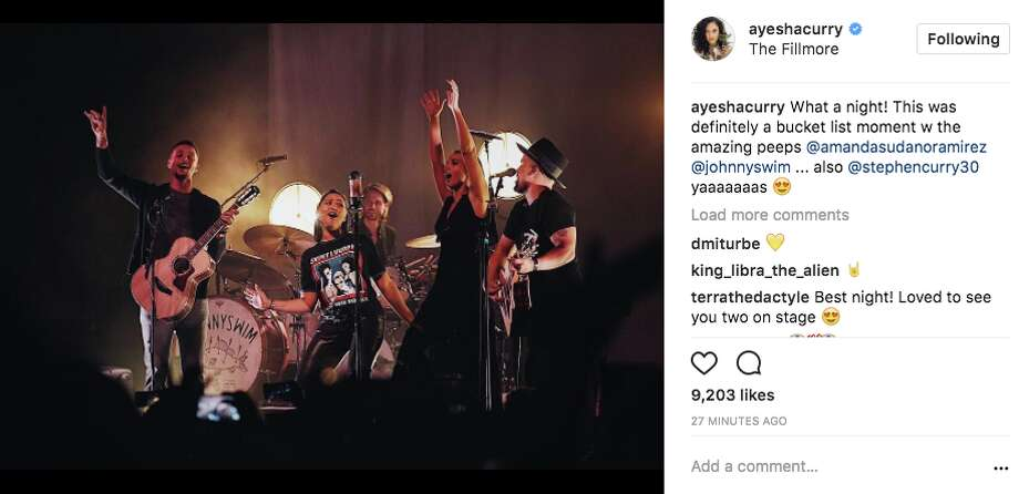 Stephen and Ayesha Curry sing onstage with Johnnyswim at the Fillmore in San Francisco on Oct. 18, 2017. Photo: Screenshot Via Instagram/Ayesha Curry