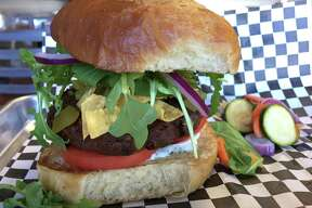 The Hatch Chickpea Veggie Burger at Benjie's Munch is one of several vegan options on the menu.