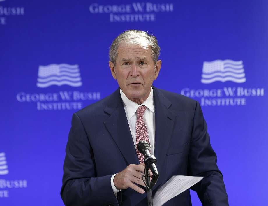 Former U.S. President George W. Bush speaks at a forum sponsored by the George W. Bush Institute in New York, Thursday, Oct. 19, 2017.  Photo: Seth Wenig, Associated Press