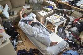 untidy room, sleep, bed, blanket, couch, mess, sofa, Lying Down, Caucasian Ethnicity,