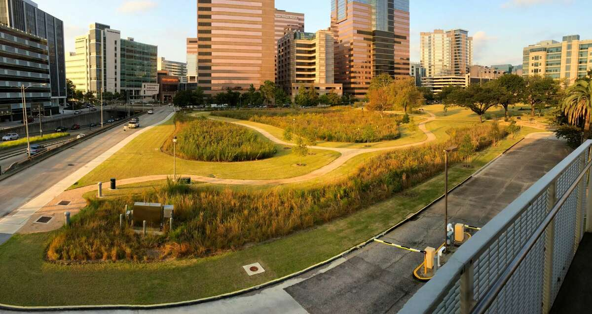 An aerial view of the MD Anderson Prairie in the Med Center.