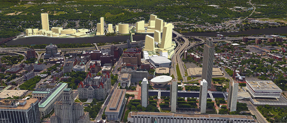 A rendering of what Amazon's second headquarters would have looked like in Albany and Rensselaer, N.Y. This Center for Economic Growth rendering shows the proposed HQ2 as it would look from the west, with the Empire State Plaza in the foreground.