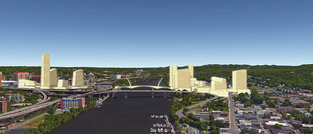 A rendering of what Amazon's second headquarters would have looked like in Albany and Rensselaer, N.Y. In this rendering, the view is looking north, up the Hudson River, with Albany on the left. The project, as envisioned by the Center for Economic Growth, would tie the two cities together with a promenade across the Hudson.